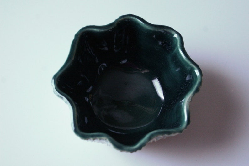 Gift Jewel Toned Pottery Organic Pottery-Christmas Jewelry Dish Ceramic Flower Handmade Bowl Unique Wedding Gift Small Serving Dish