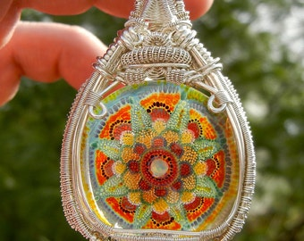 Wire Wrapped Pendant, Heady Glass Pendant, Statement Pendant, Dot Implosion Glass, Mandala Pendant, Heady Boro Pendant, Handmade