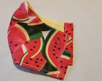 Watermelon vibrant fun print.  A fitted mask with Aluminium nose strip. Large only left