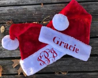 72a57709427 Santa Hat - Santa Hat - Personalized Santa Hat - Santa Hat with Name - Red  Furry Santa Hat