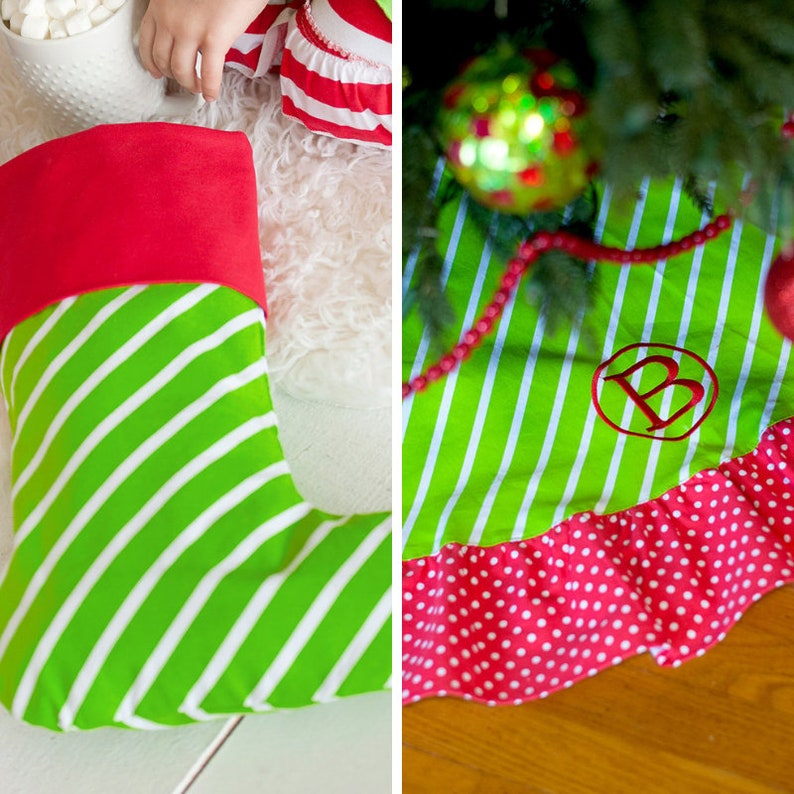 Christmas Stockings Christmas Tree Skirts Matching Stockings And Skirts Monogrammed Stockings Monogrammed Tree Skirts Personalized