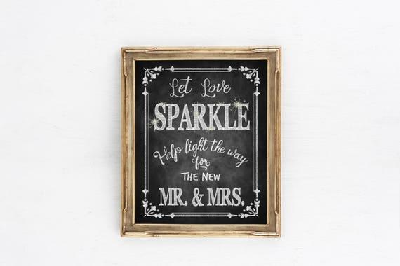 Chalkboard Wedding Sign, Wedding Sparkler Sign | Let Love Sparkle for Mr Mrs, Rustic wedding signs, Sparkler Send Off Sign, wedding send off