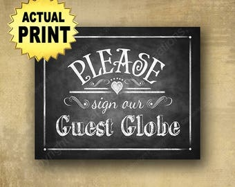 Guest Globe Sign, Wedding Signs, Globe Guest Book, Guest Globe, Sign our guest GLOBE Wedding sign, chalkboard wedding signs, wedding signage