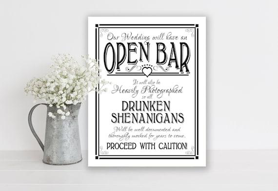 Open Bar, Wedding Sign | PRINTED Bar Sign, Drunken Shenanigans Wedding Bar Sign, Black and White Wedding Signage, Wedding Decor, Bar Signs