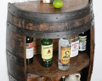 Whiskey Barrel Half Bar Large 53 Gallon, Bourbon Barrel, Wine Barrel Shelf,  Liquor Cabinet, Home Bar, Man Cave, Rustic, Reclaimed, CraftBeer