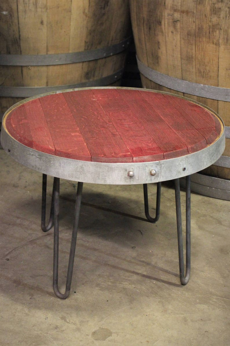 Reclaimed Red Wine Barrel Head Table W Steel Barrel Hoop Etsy