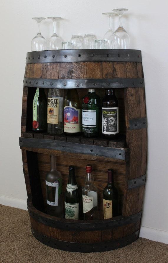 Whiskey Barrel Bar With Shelf Reclaimed Whiskey Barrel Bar Etsy