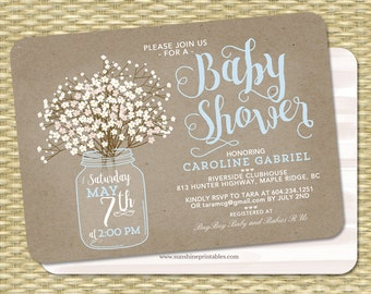 baby shower invitation baby boy mason jar babys breath kraft baby shower invite baby sprinkle