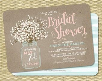 country bridal shower invitation rustic bridal shower invite wedding shower rustic couples shower babys breath invitation rustic kraft