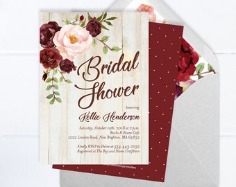 rustic floral bridal shower invitation fall bridal shower invite burgundy and blush peonies bridal shower rustic wedding shower invitations