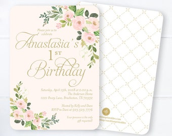 gold lace and pearls first birthday invitation girls 1st etsy