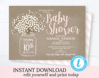 4c2fc9a6bfa1 Rustic Baby Girl Shower Invitation Mason Jar Baby s Breath Rustic Kraft  Pink and White Instant Download Editable Template Templett