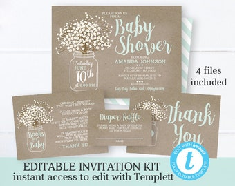 3bb848a9a888 Rustic Baby Shower Invitation KIT Kraft Mason Jar Baby s Breath Gender  Neutral Instant Download Editable Template Printable Invitation