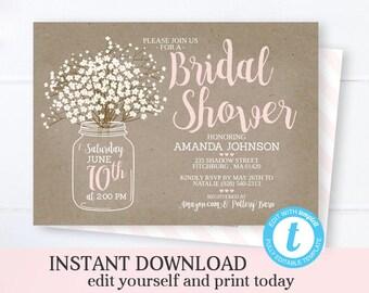 mason jar bridal shower invitation template instant download printable wedding shower invite rustic bridal brunch bridal invite editable