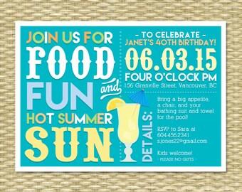 Adult Pool Party Invitation Summer Birthday Bbq Margarita Etsy