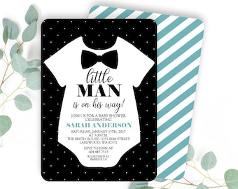 Bow tie invitations etsy more colors little man baby shower invitation filmwisefo