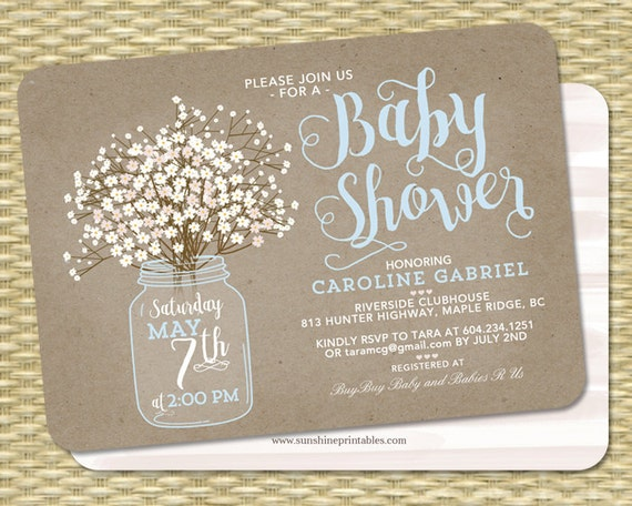 Baby Shower Invitation Baby Boy Mason Jar Baby S Breath Etsy