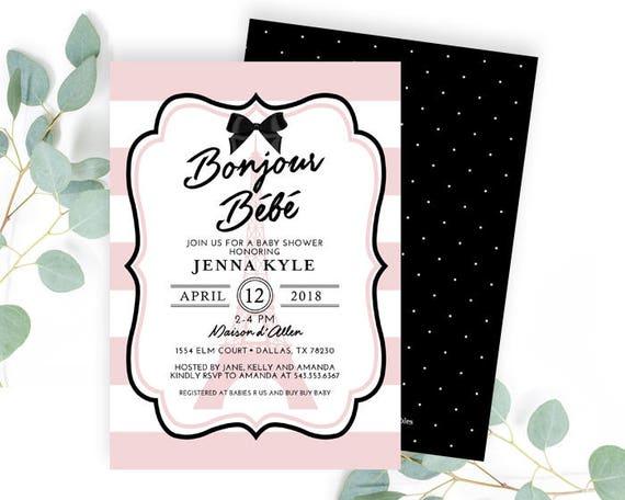 parisian invitation le bebe invitation french baby shower invitation gender neutral paris invitation bonjour b\u00e9b\u00e9 invitation