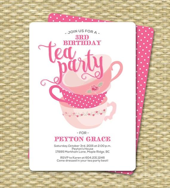 Birthday Tea Party Invitations Birthday Tea Party Invitation Etsy
