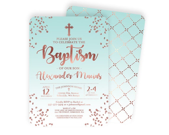 Rose Gold And Aqua Blue Baptism Invitation Baby Boy Baptism Invite