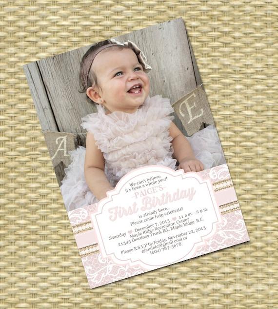 1st Birthday Invitation Burlap Lace Pearls First Birthday Shabby
