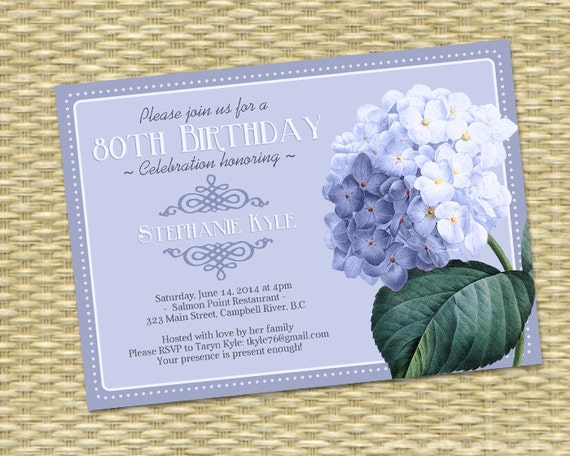 80th Birthday Invitation Blue Hydrangea Adult Milestone