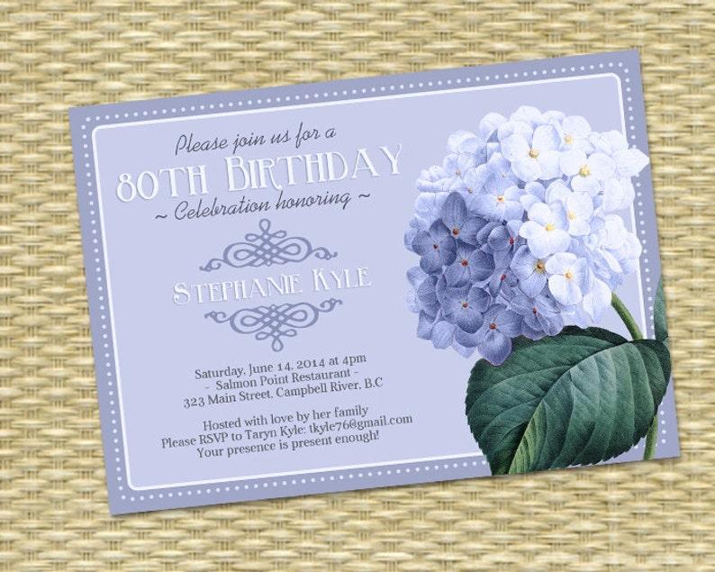 80th Birthday Invitation Blue Hydrangea Adult Milestone