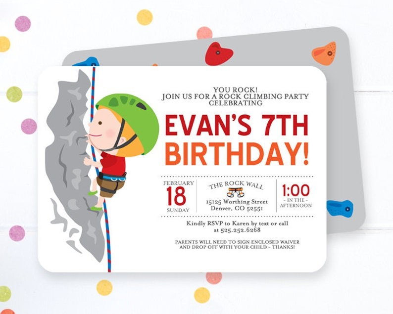 Rock Climbing Birthday Invitation Boy Rock Climbing Birthday Party Invite Rock Climbing Birthday Party You Rock Any Age