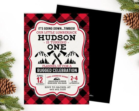 lumberjack birthday invitation boy first birthday invite red black