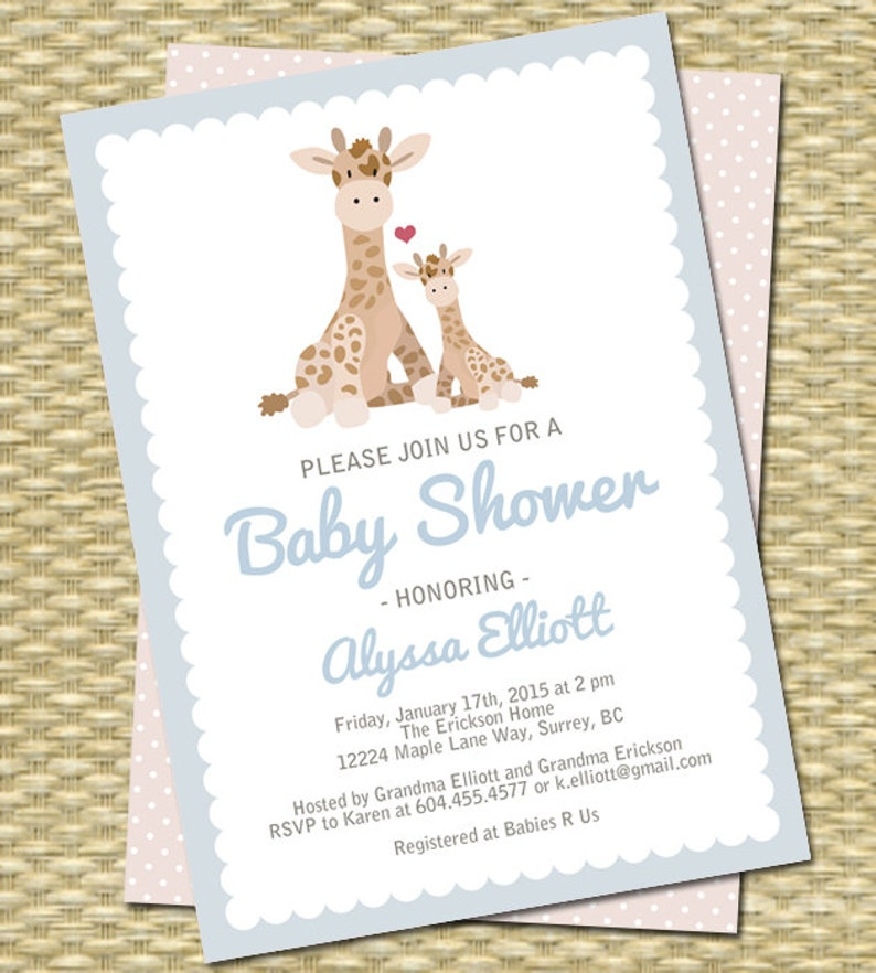 e37859f7f Giraffe Baby Shower Invitation Boy Mom and Baby Giraffe Baby