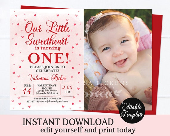 Little Sweetheart 1st Birthday Invitation Girl Valentine First