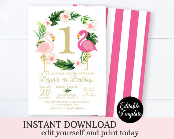 picture about Printable Flamingo Template named Flamingo Birthday Invitation Permits Flamingle Female Birthday