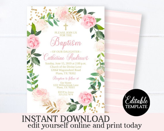 75 Floral Initial Christening//Baptism Invitations Blue//Pink with Envelopes