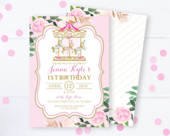 Carousel Birthday Invitation Pink And Gold 1st Carnival Pony Floral Merry Go Round Invite