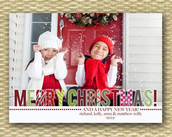 Christmas Photo Card - Customized, DIY Printable, Holiday - Patterned Merry Christmas