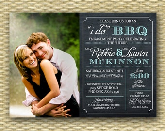Photo Chalkboard I Do BBQ Bridal Shower Wedding Shower Engagement Party Rehearsal Dinner Typography, Any Colors, ANY EVENT