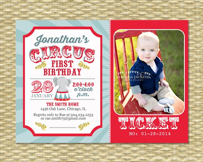 Circus First Birthday Invitation Invite Carnival Any Age Single Or Double Sided ANY EVENT Color Scheme