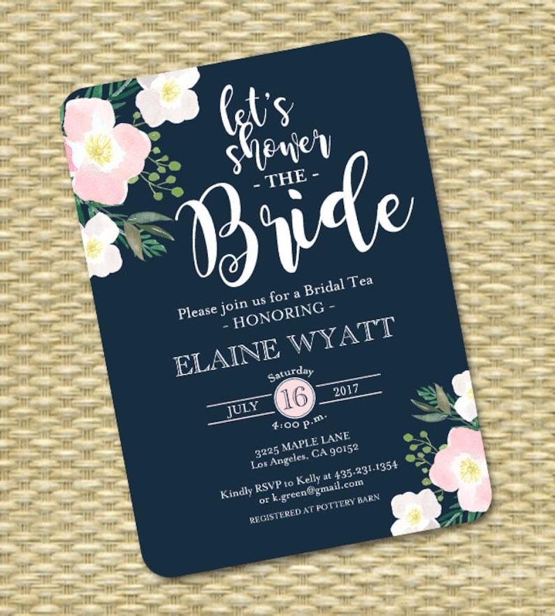 1372e0d978a2 Navy Blush Bridal Shower Invitation Floral Bridal Shower