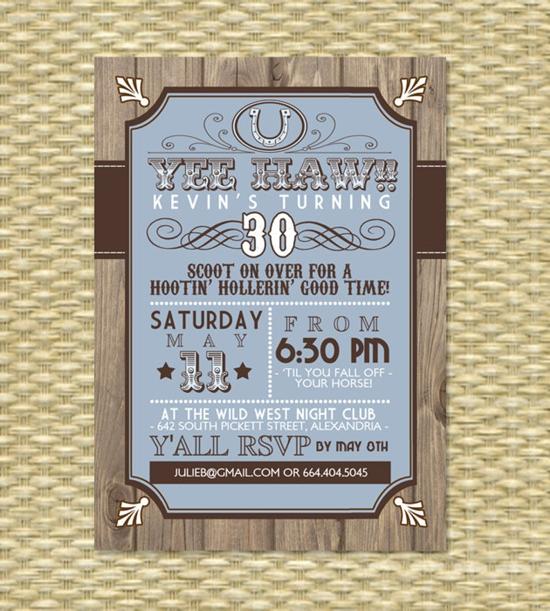 Country Western Adult Birthday Invitation Theme 30th