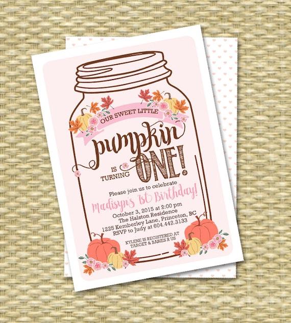 our little pumpkin first birthday invitation mason jar pumpkin