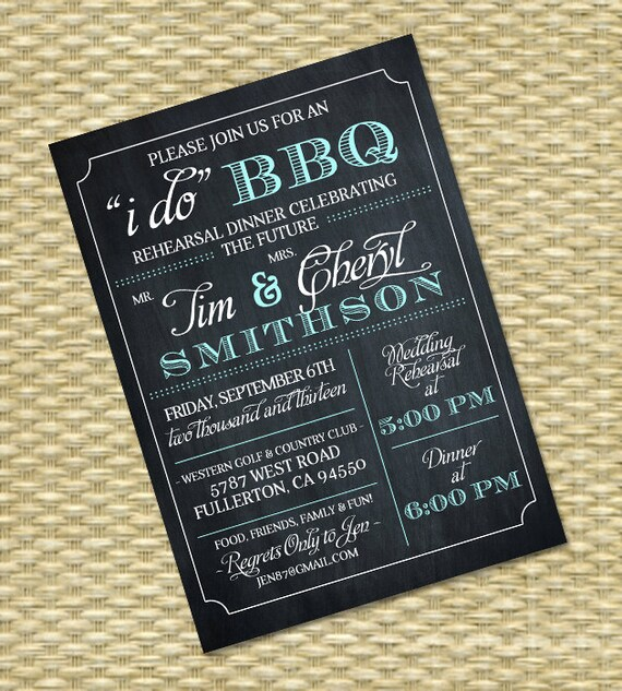 I Do BBQ Rehearsal Dinner Invitation Chalkboard Typography