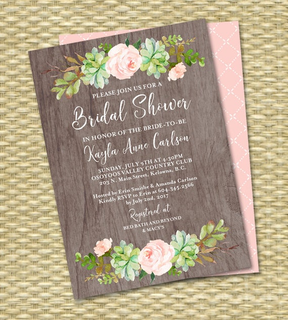 d712b377a67b Watercolor Boho Bridal Shower Invitation Floral Succulent Bridal Shower  Rustic Bridal Shower Invite Printable or Printed ANY EVENT