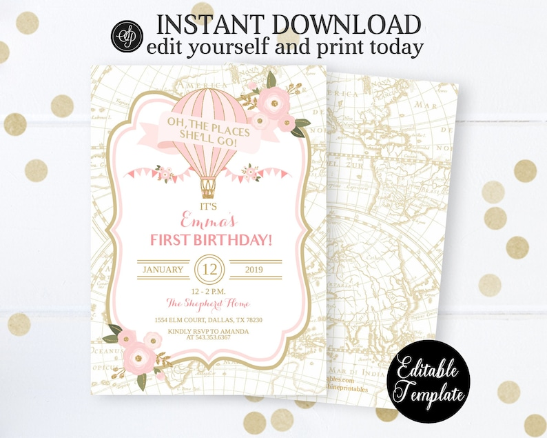 photograph relating to Oh the Places You'll Go Balloon Printable Template called Oh the Destinations S Transfer Warm Air Balloon Birthday Invitation Female, Printable Woman Birthday Invitation Template, EDITABLE, Templett, SP0036