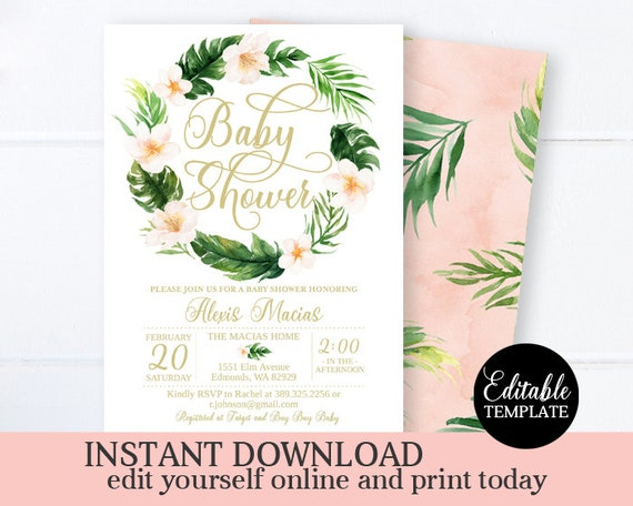 Yellow Pink Green Babies Signs Bundle Aloha Luau Hawaii Hibiscus instant download PDF TF1 Tropical Flowers Baby Shower Package Printable