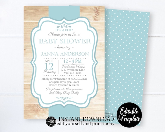Printable Rustic Baby Boy Shower Invitation Editable Template Boy Baby Shower Invite Blue With Wood Background Sp0047 By Sunshine Printables Catch My Party