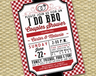 I Do BBQ Invitation Couples Shower Engagement Party Rustic Red Gingham Check Red and Black Rehearsal Dinner Wedding Shower Wedding BBQ