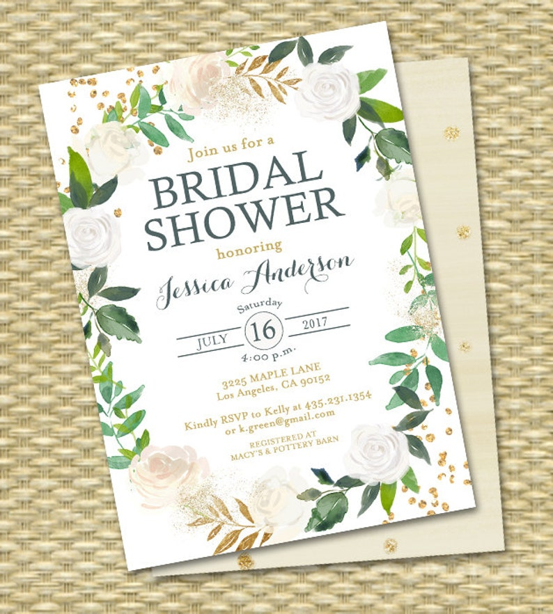 Bridal Shower Invitations Greenery Bridal Shower Invite image 0