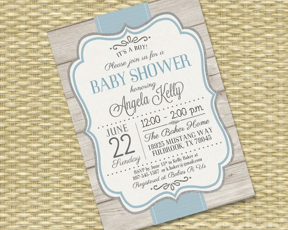 Printable Baby Boy Shower Invitation Rustic Baby Shower Sip And See