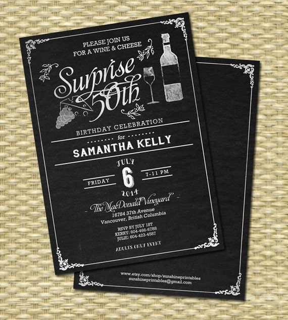 Wine Theme Chalkboard Birthday Invitation 50th Party Invite Any Age Rustic Surprise Cheese Black White ANY EVENT