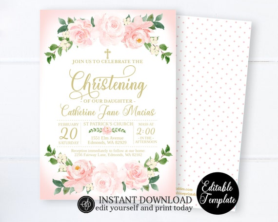 Pink Gold Floral Christening Invitation Girl Christening Invitation Template Editable Template Baptism Invitation Sp0058 By Sunshine Printables Catch My Party